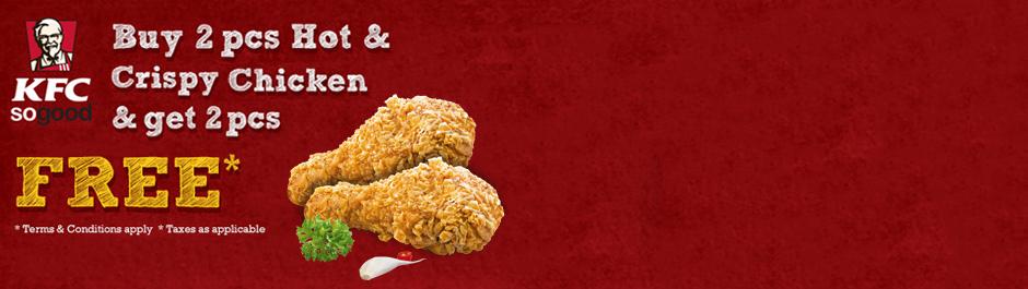 KFC is back! Buy 1 get 1 offer on 2pcs hot & crispy chicken