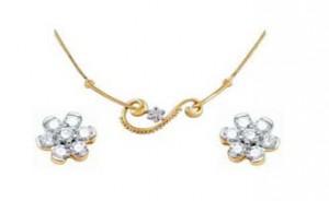 Ag Real Diamond Set including Mangalsutra & Earring