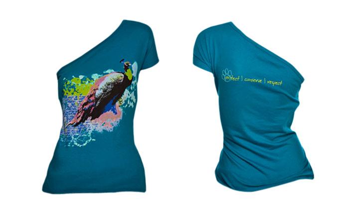 100% organic cotton ocean depth coloured Peacock Ladies T-shirt