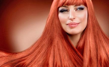 Rs 549 for Fama global hair colour or Streax highlighting, hair cut & hair wash