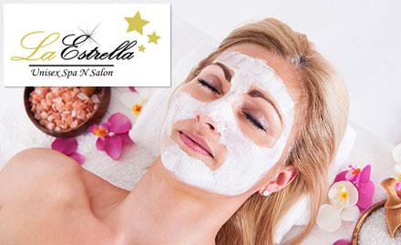 La Estrella Unisex Spa N Salon Saket - Rs 300 off on a minimum billing of Rs 800. Get facial, hair spa, body massage, makeup & more!
