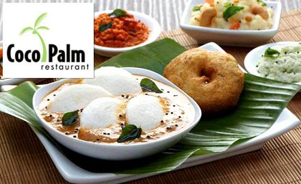 20% off on food and beverages. Enjoy dosas, kerala appam, vegetarian thalis, biryani & more!